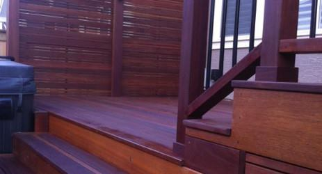 Red Balau Batu Calgary Hardwood Deck Stairs